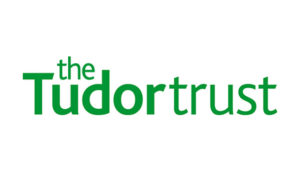 Logo of The Tudor Trust – green text on white background